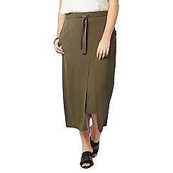 Evans - Khaki green tie front skirt
