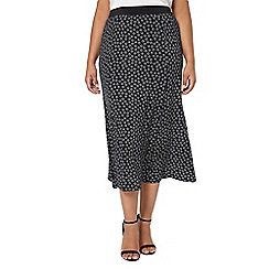 Evans - Black printed maxi skirt