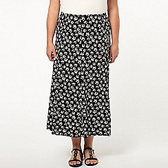 Evans - Daisy print fit and flare skirt