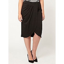 Evans - Black wrap skirt