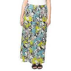 Evans - Green palm leaf print maxi skirt