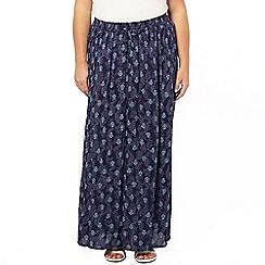 Evans - Printed crinkle maxi skirt