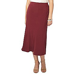 Evans - Berry red fit and flare midi skirt