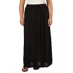 Evans - Black crinkle maxi skirt