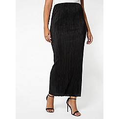 Evans - Black pleated maxi skirt