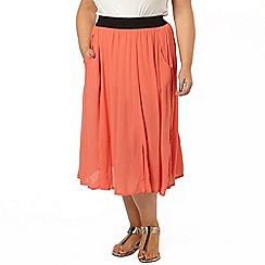 Evans - Coral crinkle midi skirt