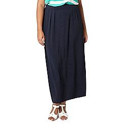 Evans - Navy blue chiffon maxi skirt