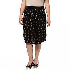 Evans - Black crinkle midi skirt