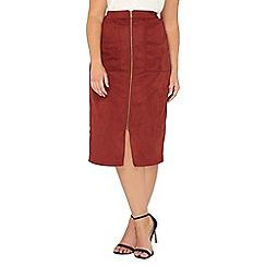 Evans - Red zip front suedette skirt