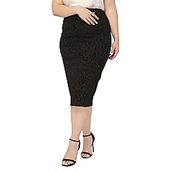 Evans - Evans black patterned pencil skirt
