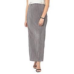Evans - Grey pleated maxi tube skirt