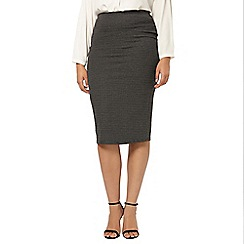 Evans - Grey patterned pencil skirt