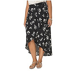 Evans - Black hourglass fit wrap maxi skirt