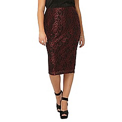Evans - Black and red lace skirt