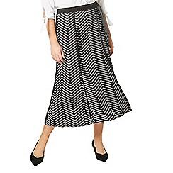Evans - Black floral print midi skirt