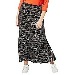 Evans - Black spot print skirt