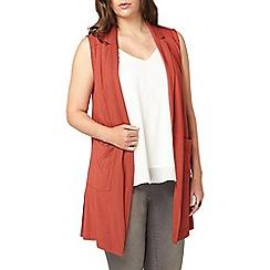 Evans - Rust orange sleeveless jacket