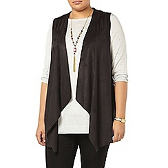Evans - Black suedette sleeveless jacket