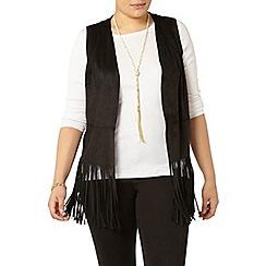 Evans - Black fringed waistcoat