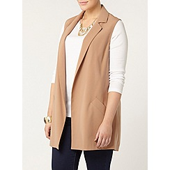 Evans - Camel sleeveless jacket