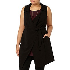 Evans - Black belted sleeveless trench jacket