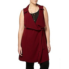 Evans - Wine sleeveless trench jacket