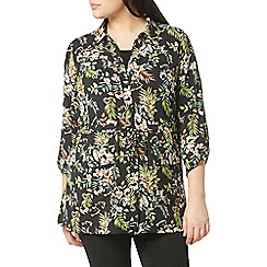 Evans - Green collection tropical print shirt