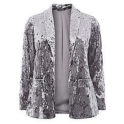 Evans - Grey crushed velvet blazer