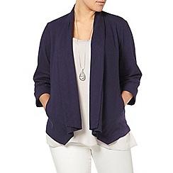 Evans - Navy linen blend jacket