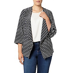 Evans - Navy striped waterfall jacket