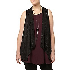 Evans - Black glitter sleeveless jacket