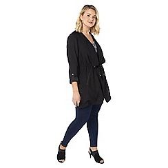 Evans - Black waterfall longline jacket