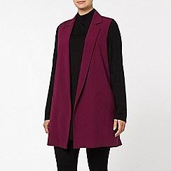 Evans - Plum sleeveless jacket