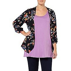 Evans - Navy printed floral jacket