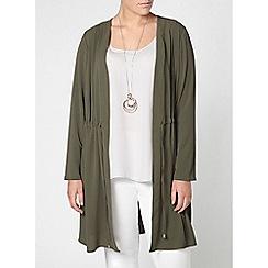 Evans - Khaki green tie trench jacket