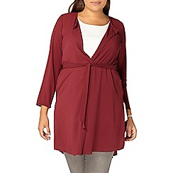 Evans - Red collarless trench jacket