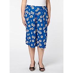Evans - Blue floral woven culottes