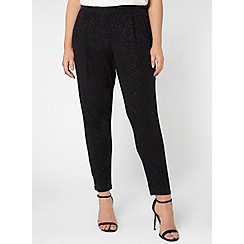 Evans - Black glitter tapered trousers