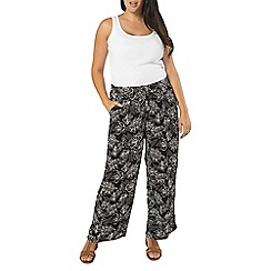 Evans - Black and white printed wide leg trousers