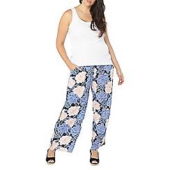 Evans - Navy floral wide leg trousers