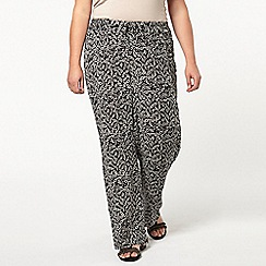 Evans - Black leaf print wide leg trousers