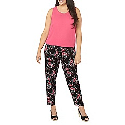 Evans - Pink printed tapered trousers