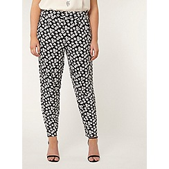Evans - Black daisy print tapered trousers