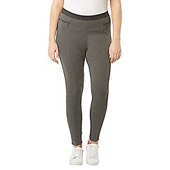 Evans - Grey zip pocket ponte leggings