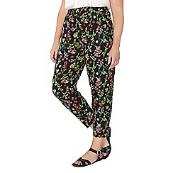 Evans - Black floral print tapered trousers