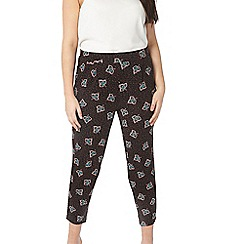 Evans - Black leaf print tapered trousers
