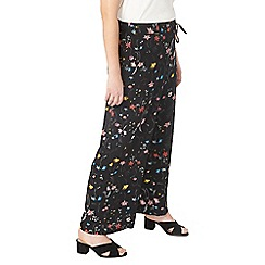 Evans - Black floral print wide leg trousers