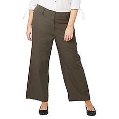 Evans - Khaki green linen button detail wide leg trousers