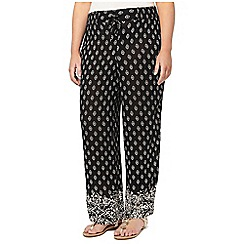 Evans - Black printed wide leg trousers