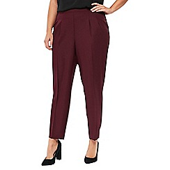 Evans - Wine red soft tapered trousers